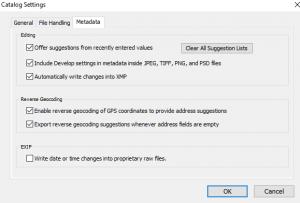 Catalog settings in Adobe Lightroom 5.7.1