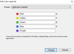 Metadata default settings in Adobe Lightroom 5.7.1